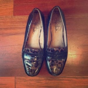Patent leopard loafers